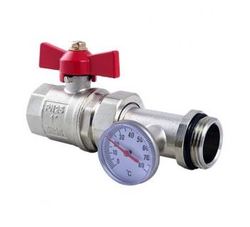 Кран шаровый FADO прямой с термометром 1