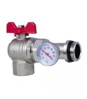 Кран шаровый FADO угловой с термометром 1
